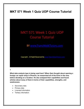 MKT 571 Week 1 Quiz UOP Course Tutorial.pdf