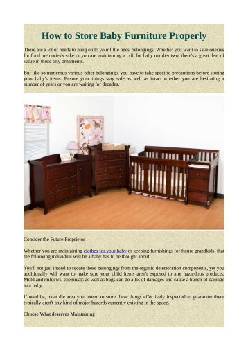 How to Store Baby Furniture Properly