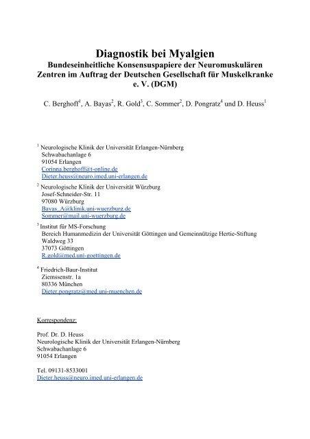 Diagnostik bei Myalgien - Deutsche Gesellschaft für Muskelkranke ...