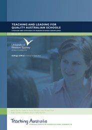 TEACHING AND LEADING FOR QUALITY AUSTRALIAN SCHOOLS