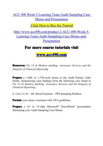 Acc 490 Week 5 Learning Team Audit Sampling Case Memo And
