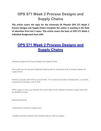 ops 571 week 2 Here is the best resource for homework help with mba ops 571 : operations   ops 571 - week 2 - learning team reflection university of phoenix operations .