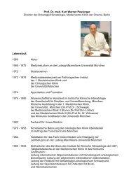 Prof. Dr. med. Kurt Werner Possinger Direktor der Onkologie ...