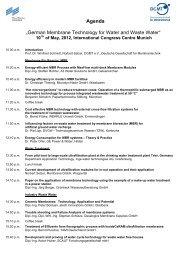 Agenda - Deutsche Gesellschaft für Membrantechnik