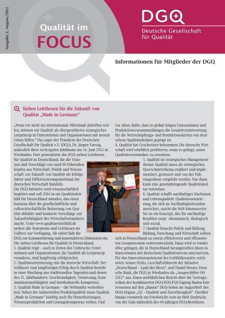 Qualität im FOCUS Informationen für Mitglieder der DGQ