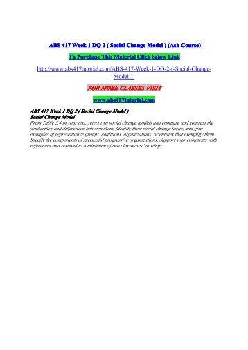 ABS 417 Week 1 DQ 2 ( Social Change Model ) / uophelp