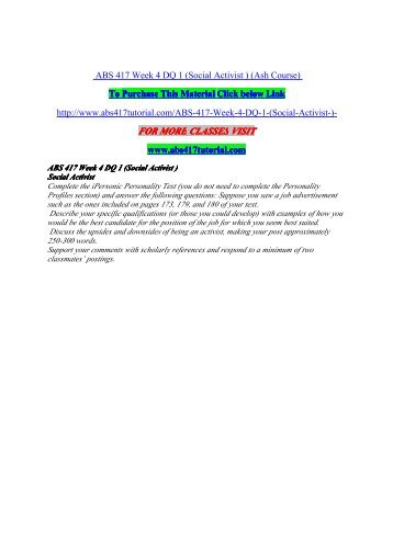 ABS 417 Week 4 DQ 1 (Social Activist ) / uophelp