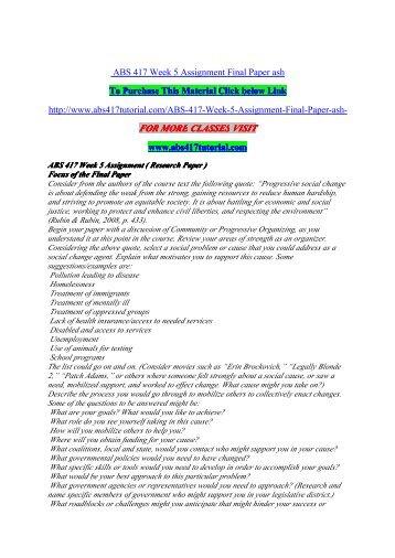 ABS 417 Week 5 Assignment Final Paper / uophelp