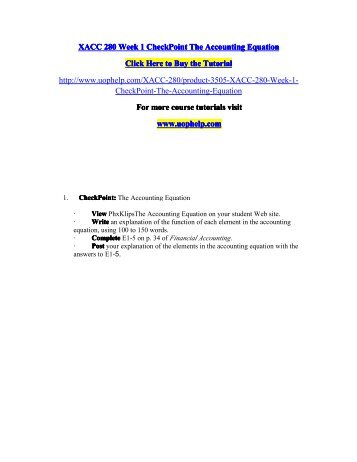 xacc week 7 checkpoint Xacc 280 week 6 checkpoint the nine steps of the accounting cycle this document of xacc 280 week 6 checkpoint – the nine steps of the accounting cycle includes.
