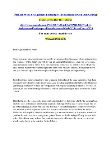 Philosophy Assignment & Homework Help