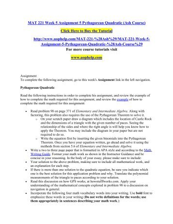 MAT 221 Week 5 Assignment 5 Pythagorean Quadratic (Ash Course)/ UOPHELP