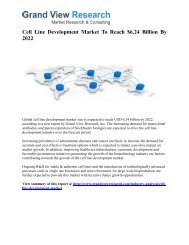 Cell Line Development Market Forecast, Trends To 2022: Grand View Research, Inc.