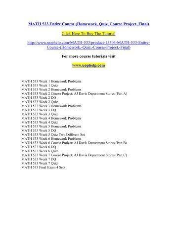 MATH 533 Entire Course/ UOPHELP