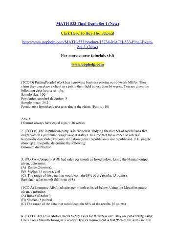 MATH 533 Final Exam Set 1/ UOPHELP
