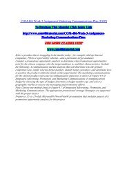 COM 486 Week 3 Assignment Marketing Communications Plan / uophelp