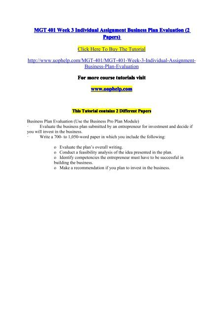 mgt401 business plan evaluation
