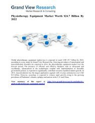 Physiotherapy Equipment Market Forecast, Trends To 2022: Grand View Research, Inc.