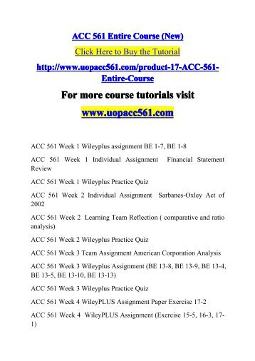 ACC 561 Entire Course / uopacc561dotcom