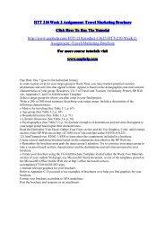 HTT 210 Week 2 Assignment Travel Marketing Brochure/UopHelp