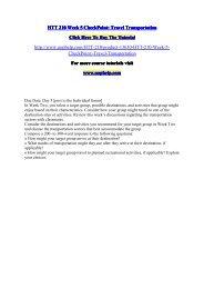 HTT 210 Week 5 CheckPoint Travel Transportation/UopHelp
