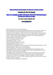HTT 210 Week 9 Final Project The Plan for a Dream Vacation/UopHelp