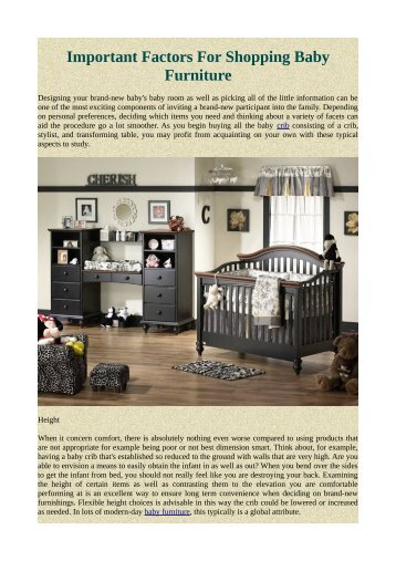 Important Factors For Shopping Baby Furniture