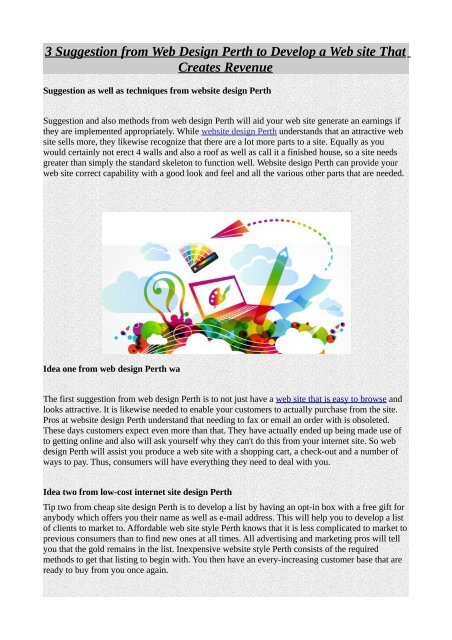 3 Suggestion From Web Design Perth To Develop A Web Site That Creates Revenue Pdf