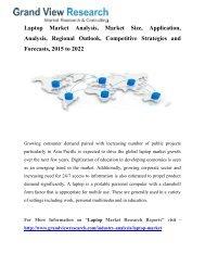 Laptop Market Size, Segmentation To 2022: Grand View Research, Inc.