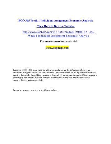 ECO 365 Supply and Demand Simulation Essay