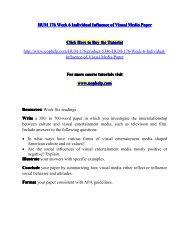 HUM 176 Week 6 Individual Influence of Visual Media Paper/UopHelp