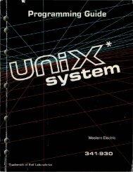 PROGRAMMING GUIDE UNIX* SYSTEM