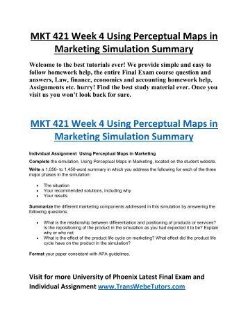 MKT 421 Week 4 Marketing Research Report