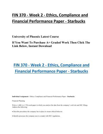 ethics and compliance starbucks fin Code of ethics for ceo and finance leaders in my financial leadership role with starbucks coffee company, i recognize that i hold an important and elevated role in.