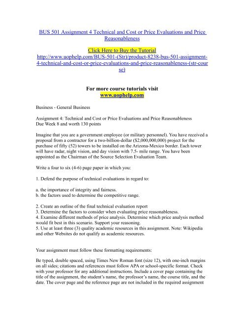 BUS 501 Assignment 4 Technical and Cost or Price Evaluations