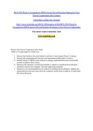 BUS 599 Week 4 Assignment HRM Issues Diversification Strategies Case Nucor Corporation (Str Course)/uophelp