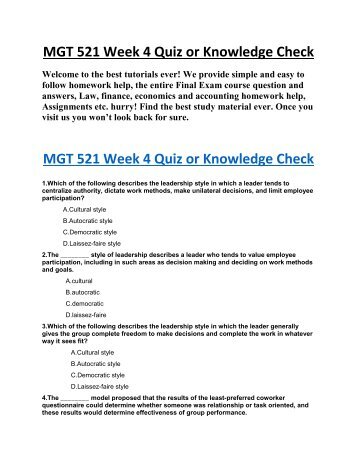 mgt 521 week 6 knowledge check Mgt 521 week 6 knowledge check 44 mgt 521 week 6 learning team reflection by: assignment flip views: 41 source: add a comment browse create sign up login  mgt.