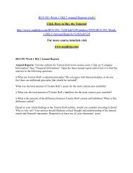 BUS 591 Week 1 DQ 2 Annual Reports/uophelp