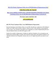 BUS 591 Week 5 Sarbanes Oxley Act of 2002Methods of Depreciation./uophelp