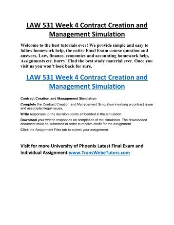 Law 531 Week 4 Individual Assignment Contract Creation And