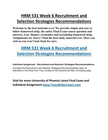 recruitment and selection strategies recommendations