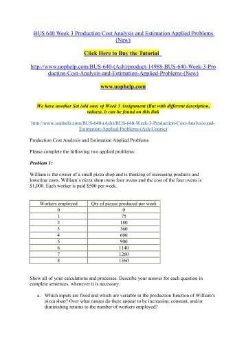 BUS 640 Week 3 Production Cost Analysis and Estimation Applied Problems (New)./uophelp
