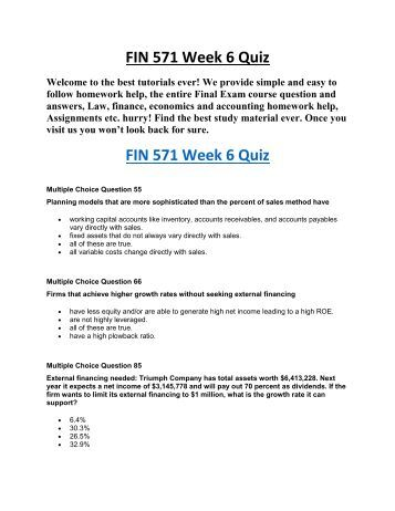 fin 571 text problem sets wk2 Fin 571 week 2 individual assignment ratio analysis problems shopping cart 0 item(s) - $000  please reply to this message when posting your answers to wk2 dq1 .