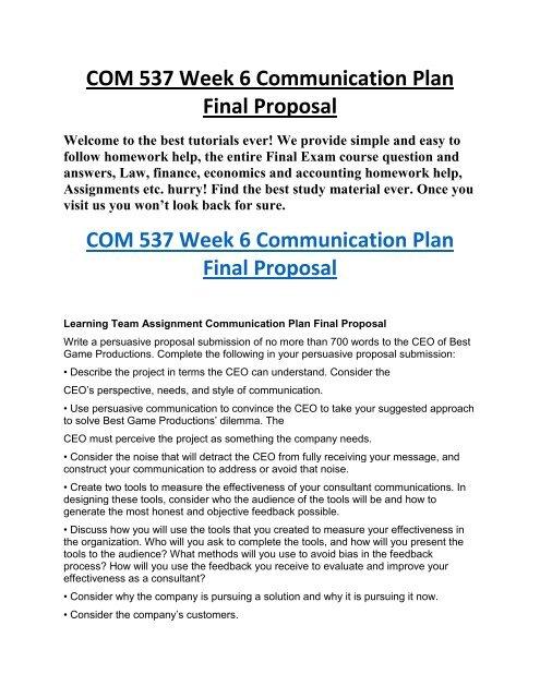 COM 537 Week 6 Communication Plan Final Proposal - Transwebetutors pdf