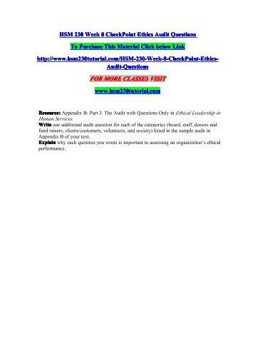 HSM 230 UOP Course Tutorial