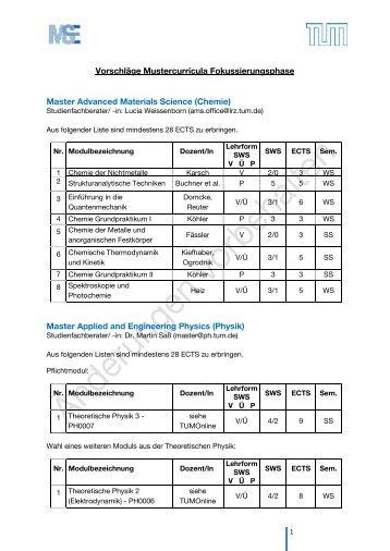 Muster-Curricula - Ingenieurwissenschaften - TUM