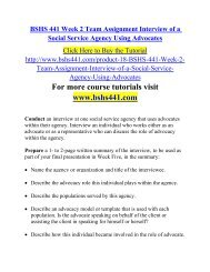 BSHS 441 Week 2 Team Assignment Interview of a Social Service Agency Using Advocates
