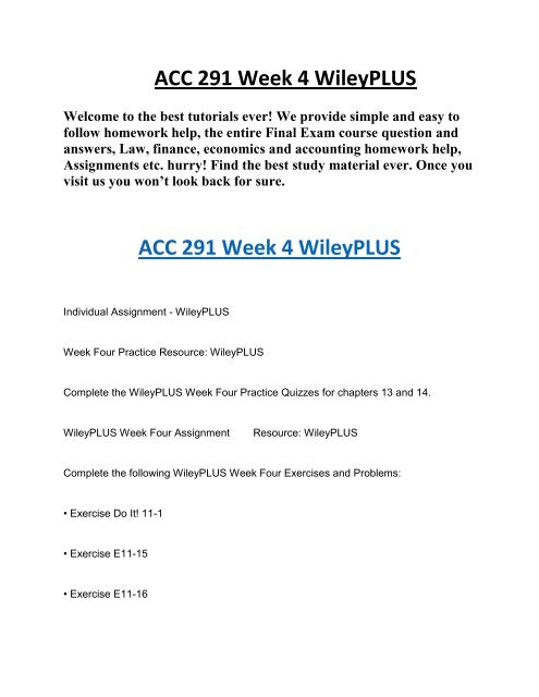 UOP Course Material ACC 291 Week 4 WileyPLUS