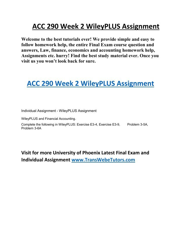 acc 291 week 2 wileyplus assignment new Topics uop acc 291 week 2 wileyplus assignment be9-11, di9-5, e9-7, e9-8, byp9-1, byp9-2, p9-2a, p8-3a (new) - 100% correct, uop acc 291 new week 2, uop acc 291 new, uop acc 291 new week 2 tutorial, uop acc 291 new week 2 assignment, uop acc 291 new week 2 help.