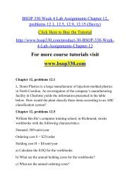 BSOP 330 Week 4 Lab Assignments Chapter 12, problems 12.1, 12.5, 12.9, 12.15 (Devry)