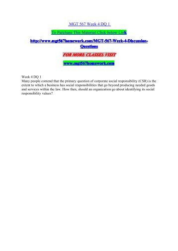MGT 567 Week 4 DQ 1/mgt567homeworkdotcom